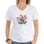 Red and Grey Atom Flowers #34 Women's V-Neck T-Shi
