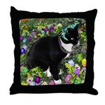 Freckles Tux Cat Easter Eggs Throw Pillow