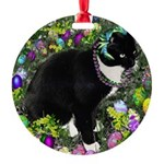 Freckles Tux Cat Easter Eggs Round Ornament