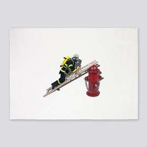 Fireman on Ladder on Fire Hydrant 5'x7'Area Rug
