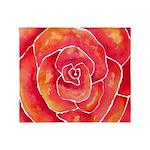 Red-Orange Rose Watercolor Throw Blanket