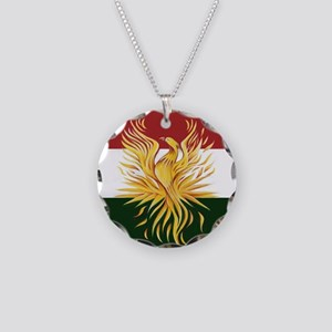 Kurdish Flag Phoenix R Necklace Circle Charm