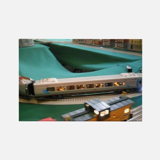 Lighted Trains On Tracks Rectangle Magnet