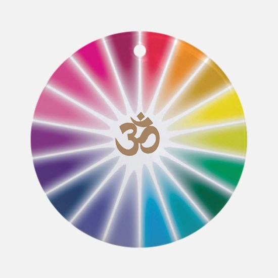Om Rainbow Flower Ornament (Round)