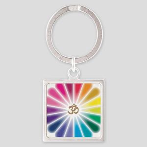 Om Rainbow Flower Square Keychain