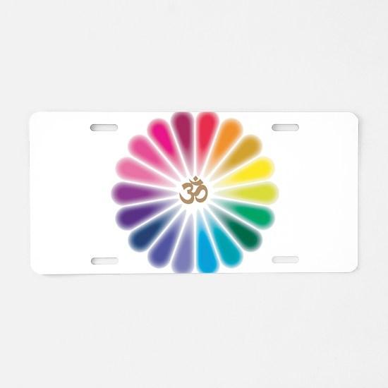 Om Rainbow Flower Aluminum License Plate