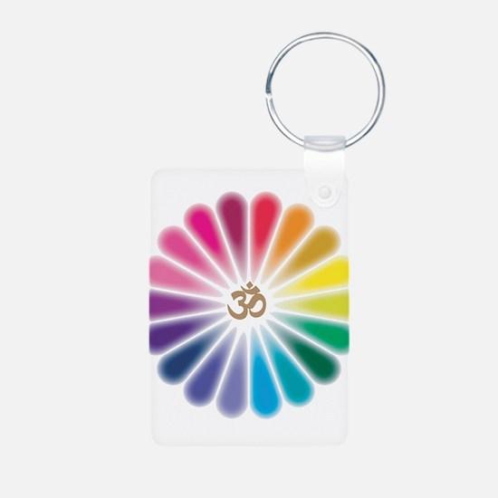 Om Rainbow Flower Keychains