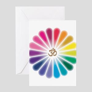 Om Rainbow Flower Greeting Card