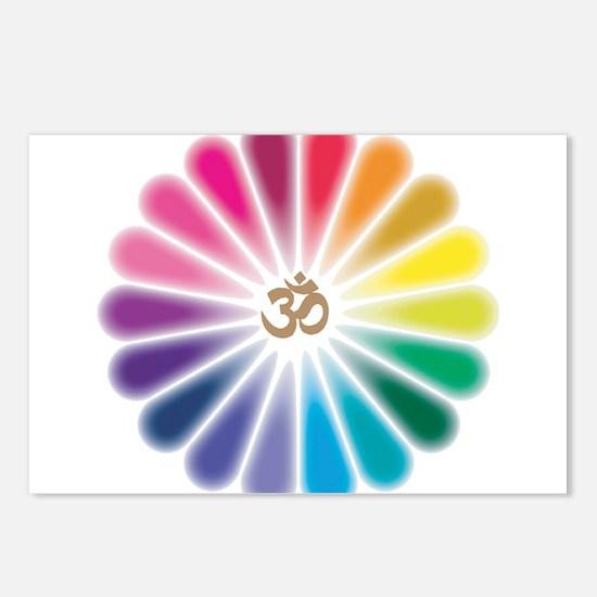 Om Rainbow Flower Postcards (Package of 8)