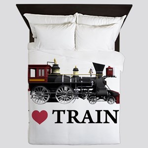 I LOVE TRAINS copy Queen Duvet