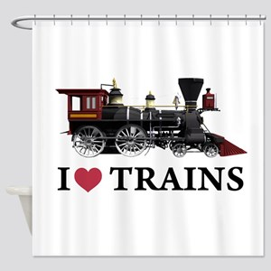 I LOVE TRAINS copy Shower Curtain