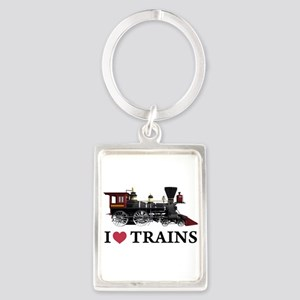 I LOVE TRAINS copy Portrait Keychain