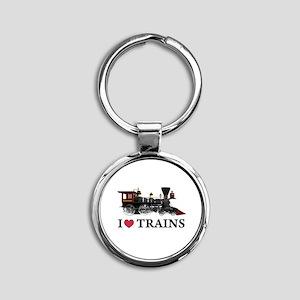 I LOVE TRAINS copy Round Keychain