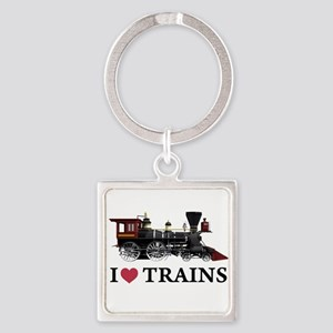 I LOVE TRAINS copy Square Keychain