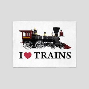I LOVE TRAINS copy 5'x7'Area Rug