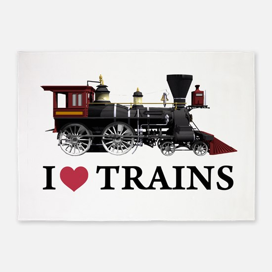 I LOVE TRAINS copy.png 5'x7'Area Rug