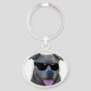 Pitbull in sunglasses Oval Keychain
