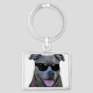 Pitbull in sunglasses Landscape Keychain