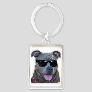 Pitbull in sunglasses Portrait Keychain