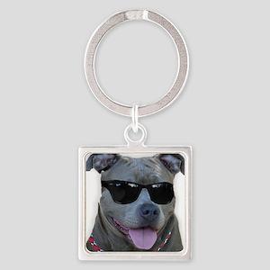 Pitbull in sunglasses Square Keychain