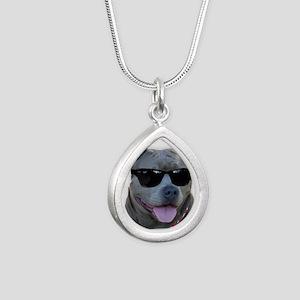 Pitbull in sunglasses Silver Teardrop Necklace