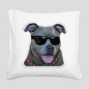 Pitbull in sunglasses Square Canvas Pillow