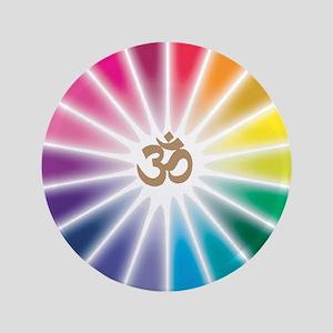 """Om Rainbow Flower 3.5"""" Button"""
