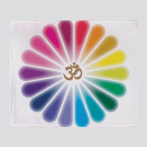 Om Rainbow Flower Throw Blanket