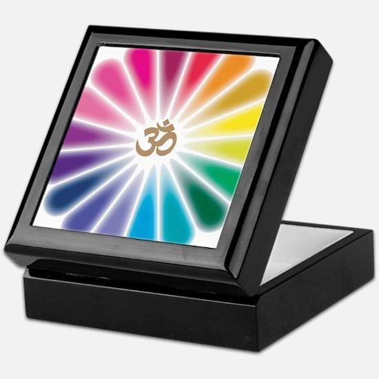 Om Rainbow Flower Keepsake Box