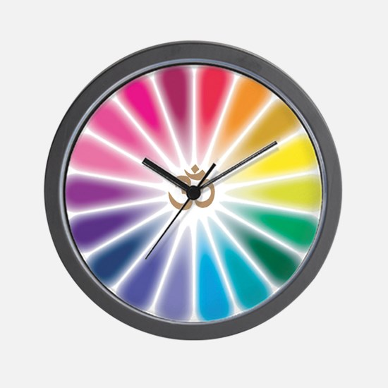 Om Rainbow Flower Wall Clock