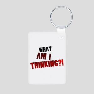 'What Am I Thinking?!' Aluminum Photo Keychain