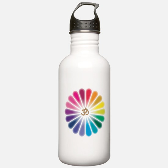 Om Rainbow Flower Water Bottle