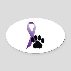 Purple-Ribbon-Pawprint-Black-Pawprint Oval Car