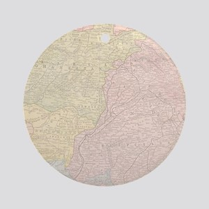 Vintage Central Asia Map Ornament (Round)