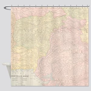 Vintage Central Asia Map Shower Curtain