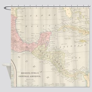 Vintage Central America Map Shower Curtain