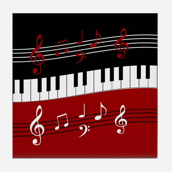 Stylish Piano keys and musical notes Tile Coaster