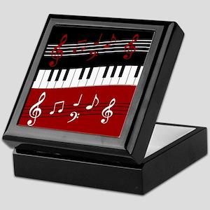 Stylish Piano keys and musical notes Keepsake Box