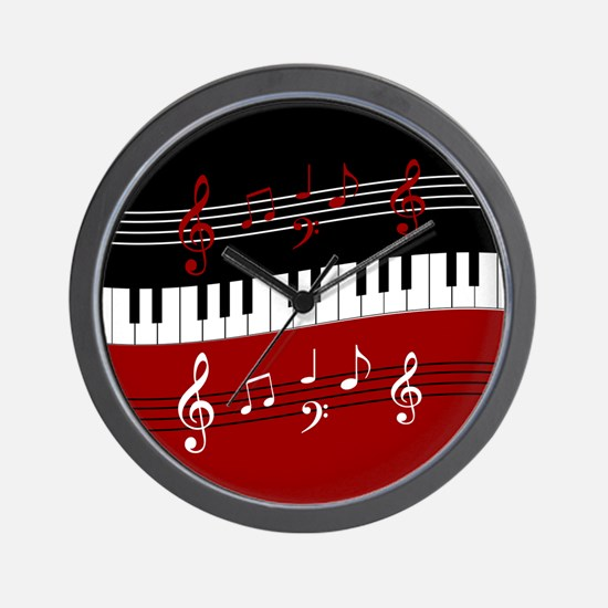 Stylish Piano keys and musical notes Wall Clock