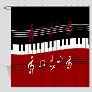 Stylish Piano keys and musical note Shower Curtain