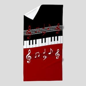 Stylish Piano keys and musical notes Beach Towel
