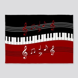 Stylish Piano keys and musical note 5'x7'Area Rug