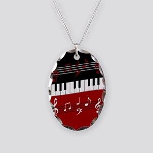 Stylish Piano keys and musical Necklace Oval Charm