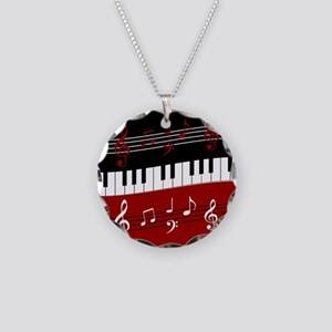 Stylish Piano keys and music Necklace Circle Charm