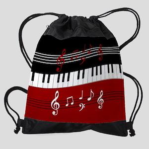 aba980cde4ec Stylish Piano keys and musical note Drawstring Bag