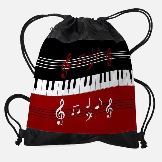 Stylish Piano keys and musical note Drawstring Bag