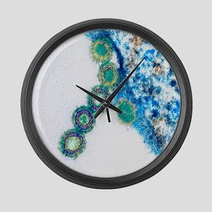 H1N1 swine flu virus, TEM - Large Wall Clock