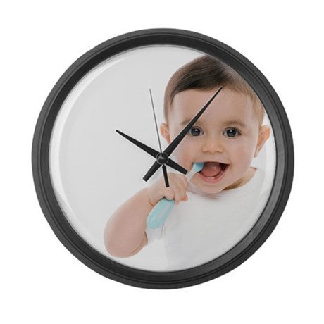 Baby boy with toothbrush - Large Wall Clock