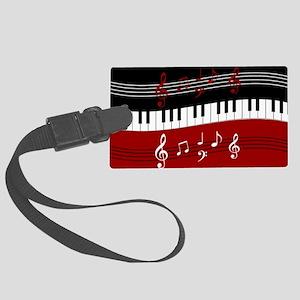 Stylish Piano keys and musical n Large Luggage Tag