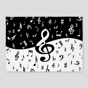 Stylish random musical notes 5'x7'Area Rug